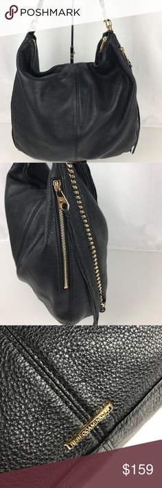 """Rebecca Minkoff Black Leather Chain Shoulder Hobo Authentic. Gently used. Good condition inside and out with some minor signs of wear on strap.   A laid-back leather hobo with luxe chain link trim, touches of tassels and whipstitch detailing. Detachable shoulder strap. Zip closure; lined. Interior slip pocket, exterior zip pocket. 14""""W x 2.5""""D x 13""""H; 14"""" strap drop. Style XS26DCHH20. RB549.  Thank you for your interest!   PLEASE - NO TRADES / NO LOW BALL OFFERS / NO OFFERS IN COMMENTS - USE…"""