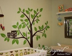 Nursery cute Baby and mommy Owl Tree leaf leaves birds home Art Decals Wall Sticker Vinyl Wall Decal stickers living room bed baby room 664