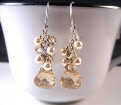 Crystal and Pearl Earrings - Carlena Designs