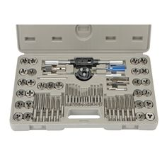 60 Piece Alloy Steel SAE/Metric Tap and Die Set  http://www.harborfreight.com/60-piece-sae-metric-tap-and-die-set-35407.html