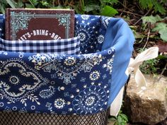 Blue Bandana Bicycle Basket Liner..I just love this...Making on for mine