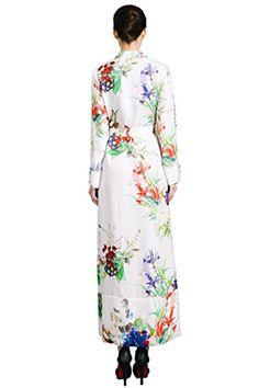 b16a24918 VOA Women's Pure Silk White Floral Print Lingerie Wrap Night Robe Sleepwear