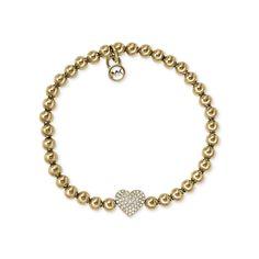 #MK #Trends Michael Kors Bead Crystal Heart Charm Golden Bracelets