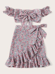 To find out about the Off Shoulder Knot Ditsy Floral Top & Wrap Skirt Set at SHEIN, part of our latest Two-piece Outfits ready to shop online today! Girls Fashion Clothes, Teen Fashion Outfits, Girl Fashion, Girl Outfits, Clothes For Women, Fashion Design, Cute Casual Outfits, Summer Outfits, Blouse Models