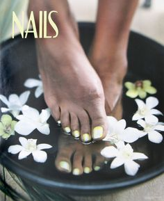 Feet Pedicure In Flowers Nails Salon Poster 1 Foot Manicure And