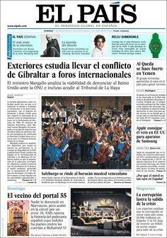Los Titulares y Portadas de Noticias Destacadas Españolas del 11 de Agosto de 2013 del Diario El País ¿Que le pareció esta Portada de este Diario Español?