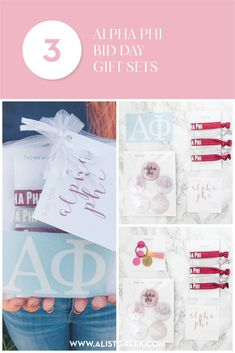 Create the perfect Bid Day gift pack for your Alpha Phi new members! Choose from three gift bag options: Newbie Love, Pref Present or Spoiled. Alpha Phi Gifts   Alpha Phi Bid Day   APhi New Member Gifts   APhi Rush Gift Bags   Alpha Phi Recruitment   Sorority Bid Day   Sorority Recruitment   Bid Day Bags   Sorority New Member Gift Ideas #BidDayGifts #SororityRecruitment Sorority Bid Day, Sorority Recruitment, Bid Day Gifts, Letter Organizer, Bid Day Themes, Syracuse University, Alpha Phi, Day Bag, Fraternity