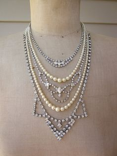 Vintage Necklace Pearl Necklace Rhinestone Necklace by rebecca3030