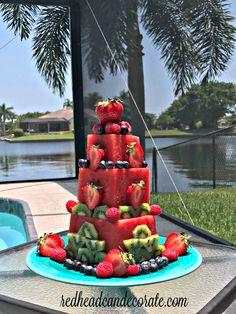 Watermelon Cake - Redhead Can Decorate Fruit Cake Watermelon, Fresh Fruit Cake, Rainbow Fruit, Cake Made Of Fruit, Mango Fruit, Deco Fruit, Elegante Desserts, High Fiber Fruits, Fruit Birthday Cake
