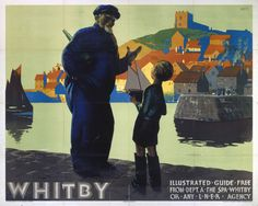 'Whitby' Vintage Advertisement Happy Larry Size: H x W, Mount Colour: No Mount, Format: Wood Posters Uk, Railway Posters, Retro Posters, Old Poster, Painting Prints, Canvas Prints, Paintings, Advertising Poster, Train Rides