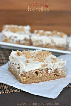 Apple Blondies with Caramel Buttercream - Shugary Sweets