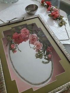 Ribbon Embroidery, Diy Flowers, Flower Arrangements, Tray, Floral, Crafts, Craft, Mirrors, Accessories