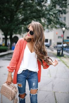 casual distressed denim with a pop of color cardigan