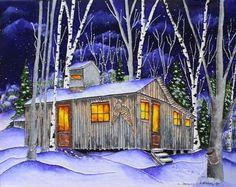 Une nuit à la cabane, peinture de vitrail sur toile 18 x 24 Une toile de Johanne Tremblay, Jmorelarts.com Glass Cube, Glass Art, Cottage Art, She Sheds, Kids Artwork, Wood Creations, Tole Painting, Learn To Paint, Poster Wall