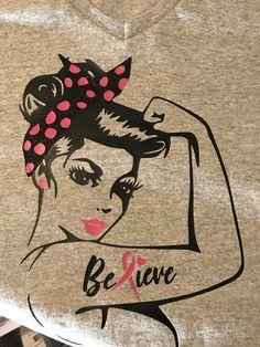 Breast Cancer Awareness Tshirt  Rosie Pin up  von BJuneCreations