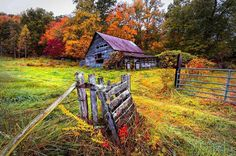 """""""Smoky Mountain Farm Gate"""" by Debra and Dave Vanderlaan - The Appalachian mountains of North Carolina, at the end of a trail that leads up to an old vintage barn and past a weathered wooden gate and into a bit of history. This old farm in the Smoky Mountains is nestled between mountain peaks near the borders of Tennessee and Georgia."""
