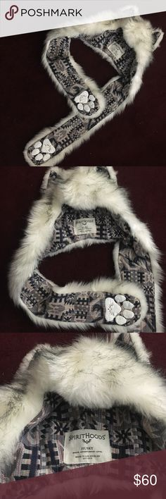 """HUSKY SPIRIT HOOD Husky Headdress by SPIRITHOODS. Brand new. White, with Aztec lining. Also has built-in """"paws"""" with mittens. Spirithoods Accessories Hats"""