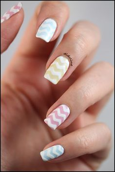 Two color colour nail art: chevrons and pastels (mint, pink, coral, yellow, lilac) design #spring #summer