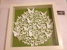 """Schmetterlingsdeko in 3D mit den Embosslits Formen """"Schmetterlingsgarten"""", den Stanzen """"Mini-Schmetterling"""" und """"Eleganter Schmetterling"""" und dem Stempelset """"Papillon Potpourri"""".  #stampinup #Schmetterling #Stanze #thinlits #Bilderrahmen #basteln #stempeln"""