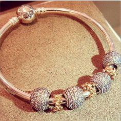 Pandora Bracelet, Gold, Bling, Silver, Crystals