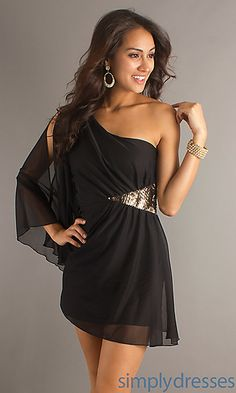 Short Black Dress with One Long Sheer Sleeve at SimplyDresses.com