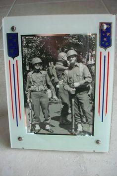 VINTAGE 1940'S WWII PATRIOTIC VICTORY ART DECO REVERSE PAINTED PICTURE FRAME #ArtDeco
