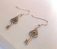 Small Silver Skeleton Key Earrings by ameliadoneup on Etsy, $15.00