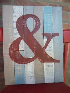 Cartel Vintagede madera reciclada pintado a mano