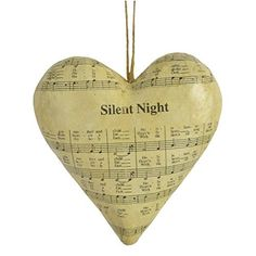 Silent Night Sheet Music Papier Mache Heart Ornament