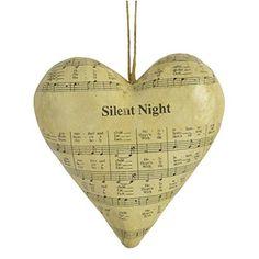 Silent Night Sheet Music Papier Mache Heart Ornament