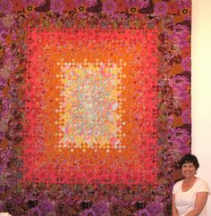 blooming nine patch made with kaffe fassett prints, at suppose-create-delight