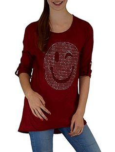 Modisches Smily Damen Shirt 3/4 Arm angedeuteter Vokuhila-Look super modern Gr.: S – XXL 36 – 44 Rot one size S – XXL   http://xxl.damenfashion.net/shop/modisches-smily-damen-shirt-34-arm-angedeuteter-vokuhila-look-super-modern-gr-s-xxl-36-44-rot-one-size-s-xxl/