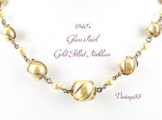 Vintage Necklace Glass Pearl Caged Gold Filled by Vintage55