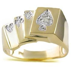 Diamond Ring Lucky Pinky Ring 14K Yellow Gold - Poker Royal Flush Mens Gold Rings, Rings For Men, Gold Necklace For Men, Mens Pinky Ring, Buy Diamond Ring, Diamonds And Gold, Rings Cool, Jewelry Design, Jewels