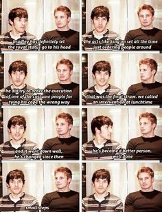 Hahaha I love them xD (Colin Morgan : Merlin) (Bradley James : Prince/King Arthur) Merlin And Arthur, King Arthur, James Arthur, It's Over Now, Merlin Fandom, Be My Hero, Merlin Cast, Bradley James, Colin Morgan