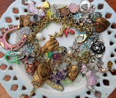 #K2 KIRKS FOLLY Charm Bracelet Star Moon Heart Cat Rhinestone Mermaid Butterfly #Kirksfolly