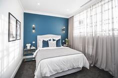Julia and Sasha have made some sensational artistic choices this season, and these redo bedrooms feature some of their best. Their 'Fleur', 'Noir' and 'Tranquillity' are all available now. The Block 2016, Blue Cushions, Guest Bedrooms, Beautiful Bedrooms, Home Bedroom, Curtains, Mad, Velvet, House