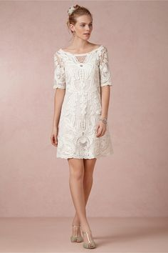 Cream Lace dress with mint shoes!!!!!! Vienna Dress in Bride Reception Dresses at BHLDN