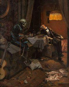 Psy Art, Aesthetic Painting, The Dark World, Great Paintings, Oil Paintings, Gothic Horror, Traditional Paintings, Skull Art, Dark Art