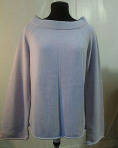 ANN TAYLOR Loft lavender sweater Collared boatneck roll hem bell sleeve L #ANNTAYLORLOFT #BoatNeck