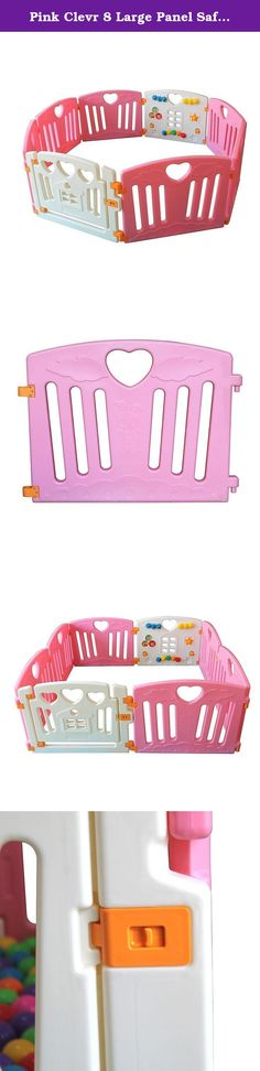 Pink Clevr 8 Large Panel Safety Baby Playard. Product Description: The ClevrTM Safety Playpen is an eight(8) hinged-panel system to keep your little one safe! The ClevrTM Safely Playpen includes six (6) hinged panels, one (1) activity panel with a picture house, spinning dials, push button and one (1) swinging door gate with safety lock. You can build it in a variety of shapes such as an octagon, rectangle, or square or you can add/remove panels to make it as big or as small as you like…