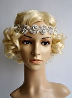 Wedding Headband,Rhinestone Headband, Crystal Headband, Wedding Bridal Headpiece, Headpiece, 1920s Flapper great gatsby headband by BlueSkyHorizons on Etsy https://www.etsy.com/listing/201345176/wedding-headbandrhinestone-headband