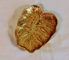 Virginia Metalcrafters Lacquered Brass Cast Monstera Leaf by StoneArborTreasures on Etsy