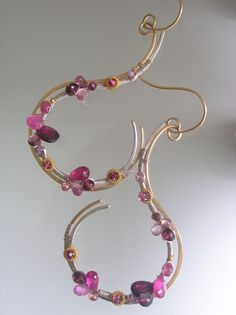 Pink Tourmaline Sculptural Earrings Mixed Metal Gold Filled Sterling Ruby Sapphire Signature Original
