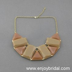 Brown Necklace,Geometric Patterns Necklace,Bridesmaid Gifts, Holiday,Party,Bridesmaid Necklace, Gift Idea,Statement Necklace$16.00