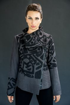Quilted asymmetrical zipper jacket with primitive silk screen.