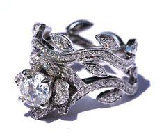 Leaf Eternity WEDDING BAND with Milgrain - Flower - Diamond -  Vine - Right Hand  Ring - 14K white gold   - fL07. $950.00, via Etsy.