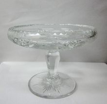 Hawkes Etched Cut Crystal Pedestal Bowl Nut Dish Signed