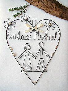 Dekorácie - svadobné srdce s perličkami - 6848482_