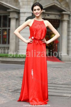 Date Dresses Floor-Length Lace Silk-like Satin Special Occasion Dresses
